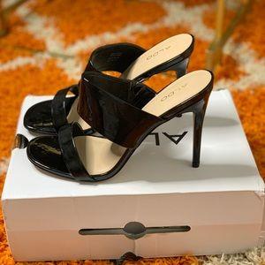 Black Patent Leather Open Toe Heels